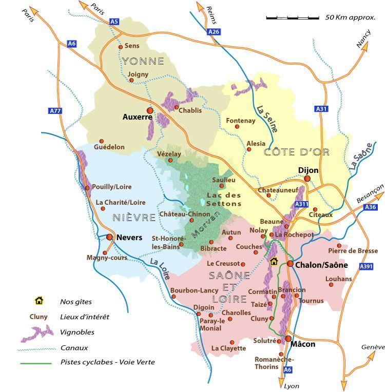 Carte Bourgogne Gite Proche Chalon Mercurey