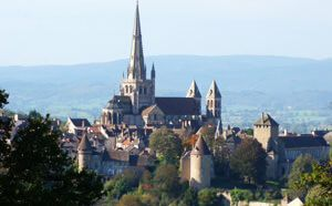 Autun cathedral from Couhard village
